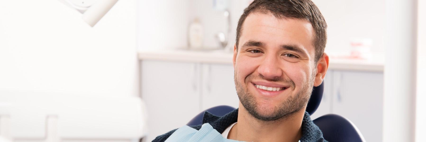 man smiling in dentist chair | Pascoe Vale VIC 3044