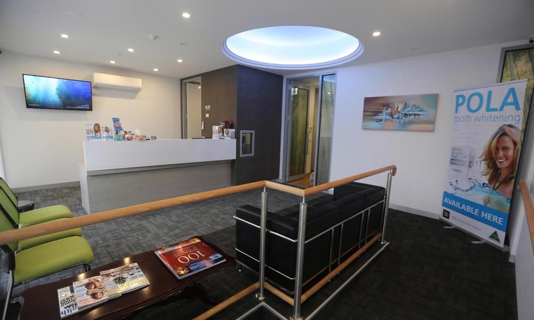 the waiting room and front desk of our pascoe vale dental office